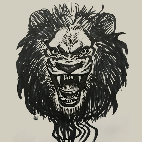 Illustration-LionFaceSketch